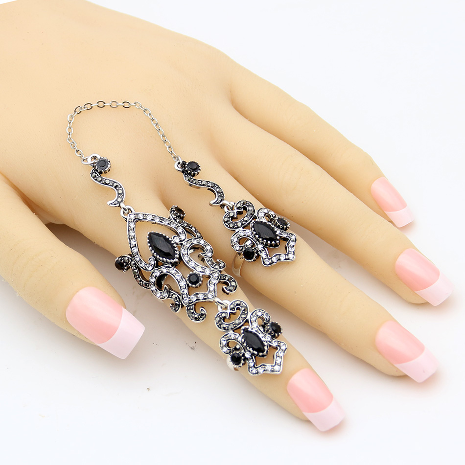 SUNSPICE MS Vintage Turkey Women Flower Double Link Ring Set - Perhiasan fesyen - Foto 5