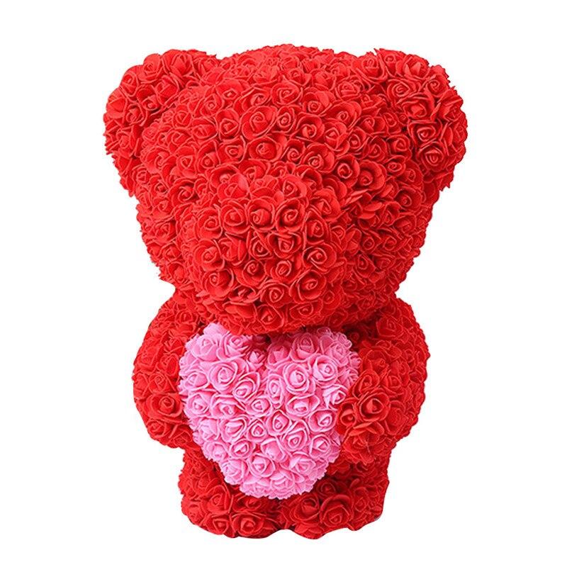 Искусственные цветы розы Медведь собака кролик Мопс юбилей день Святого Валентина подарок на день рождения мать подарок Свадебная вечеринка украшение - Цвет: 40CM Red Stand Bear