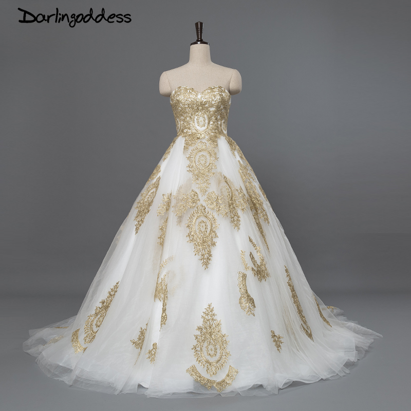 US $148.2 35% OFF|Luxury Beach Wedding Dresses 2017 African Plus Size White  Red Embroidery with Gold Lace Women Wedding Gowns Style Bridal Gown-in ...
