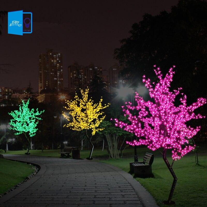 Nouveau Luz De LED Cherry Blossom Arbre Lumière Luminaria 1.5 M 1.8 M A MENÉ la Lampe D'arbre Paysage Éclairage Extérieur pour De Noël De Mariage déco