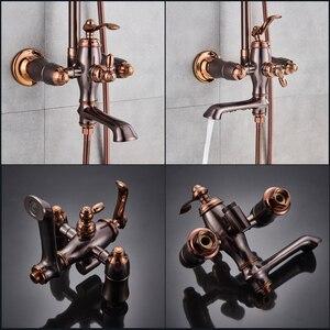 Image 4 - Oil Rubbed Bronze Shower Faucet System Rainfall Rose Golden and Bronze Bathroom Shower Mixer Shower Set Faucet Swivel Spout