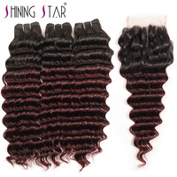 Ombre 1B Burgundy/99J Deep Wave 3 Bundles With Closure Human Hair Brazilian Hair Weave Bundles With Closure Shining Star Nonremy