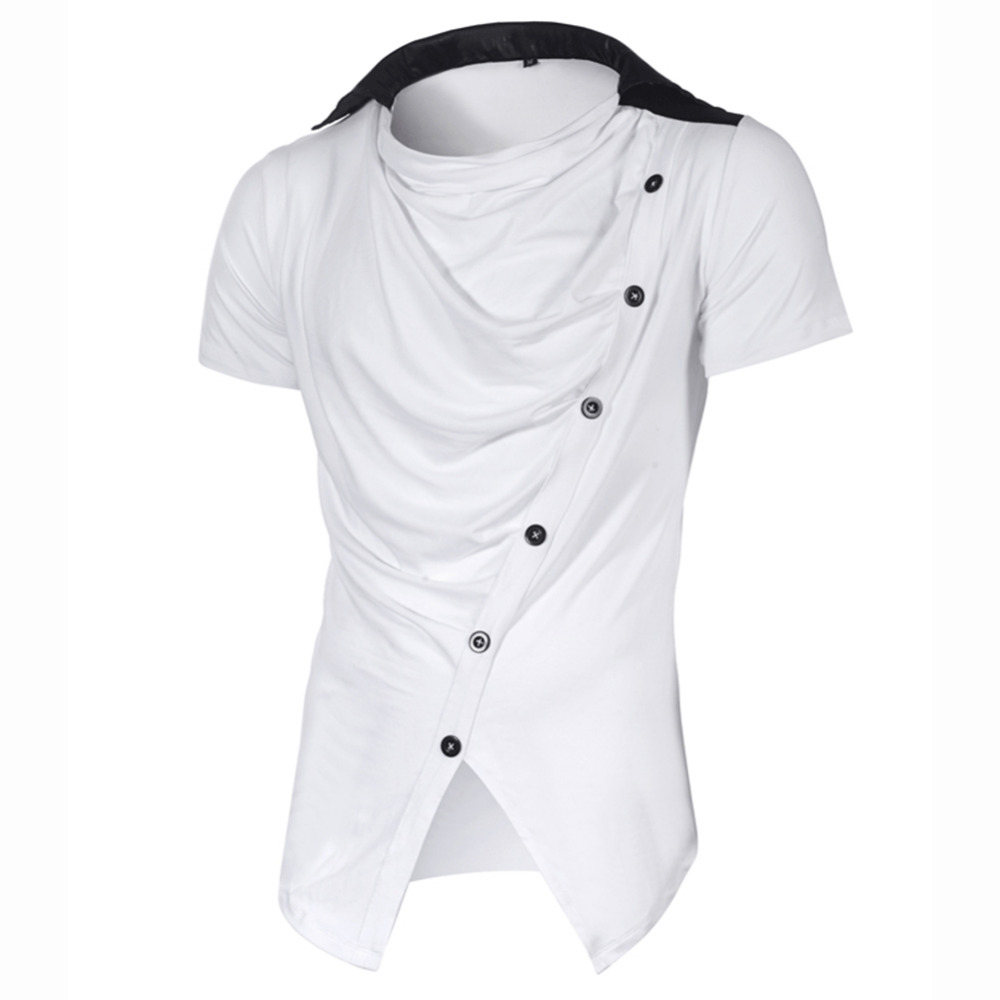 Brand Clothing T-Shirt Button Men Short Sleeve Patchwork Turn Down Collar Cruved Hem T Shirt Men's Casual Hip Hop Ruched Tshirt