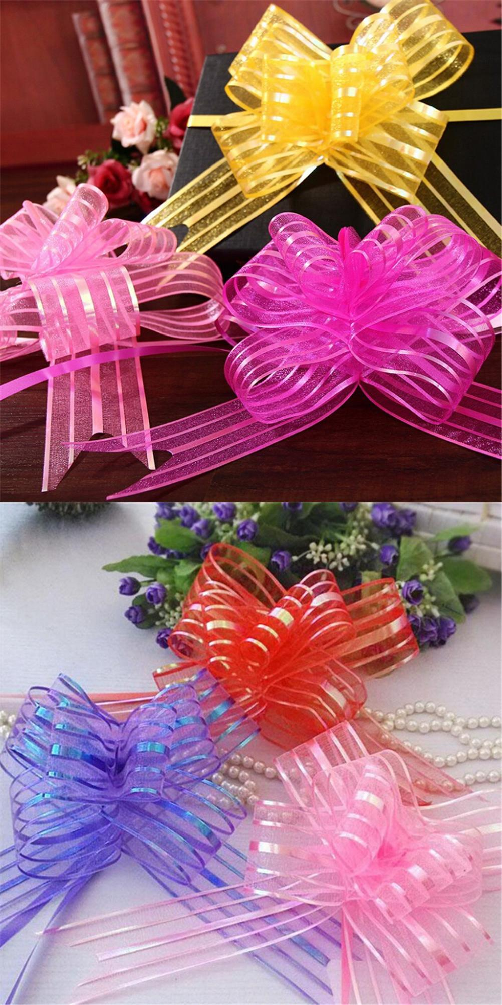 10pcs Yarn Pull Bows Ribbons Wedding Party Flower Decoration Organza Gift Wraps