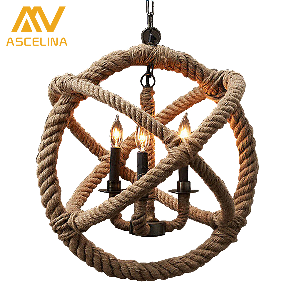 Loft pendant light Nordic Retro Hang lamp Creative Pastoral Clothing Coffee Hall Rope lamps Vintage Industrial Lighting vintage wicker pendant lamp hand made knitted hemp rope iron coffee shop pendant lamps loft lamp american lamp free shipping