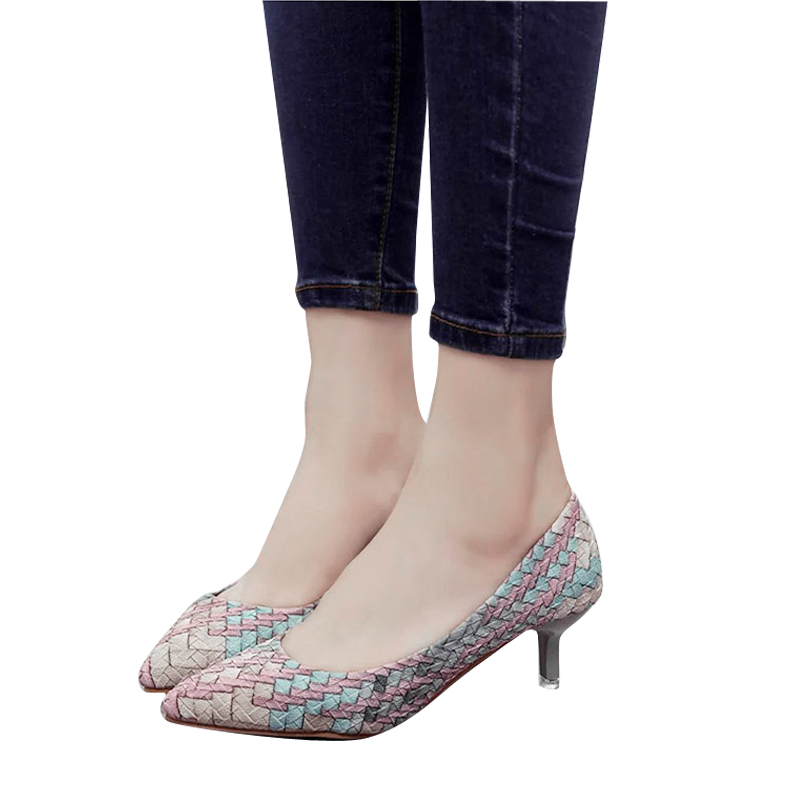 Women's Gingham Pointed Toe Slip On Autumn Pumps Ladies Slip On Party Thin High Heels Female Mixed Color Sexy Fashion Shoes newest design ladies summer mixed color special fashion sandals pointed toe thin and high heels sexy pumps