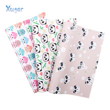 Xugar 22*30cm Owl Panda Printed Faux Synthetic Leather Fabric Sheet, DIY Hair Bows Craft Handmade Sewing Materials For Handbag ahb synthetic leather glitter printed unicorn shiny fabric faux leather sheets diy hair bows fabric handmade crafts materials