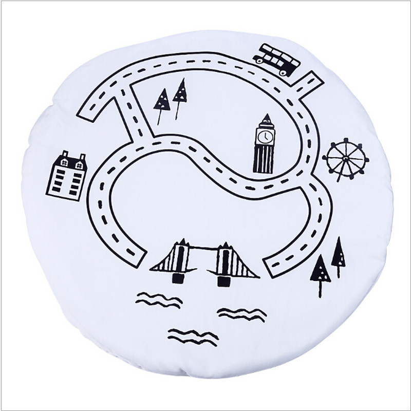Kids Cotton Urban Rd Print Round Carpet Baby And Child Bedroom Play Game Creeping Floor Mat Carpets for living room Decor Rugs