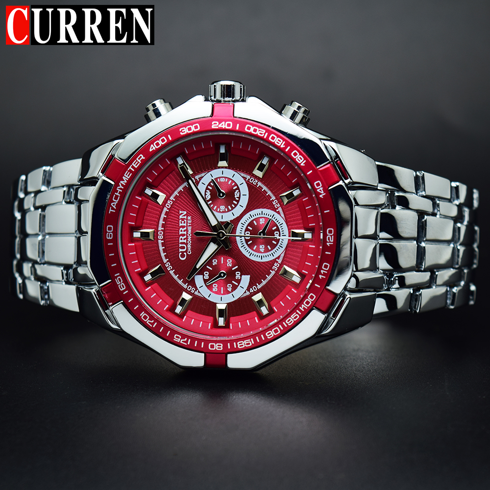 CURREN Men's Watch Red Dial Stainless Steel Water Resistant Man Watches Luxury Business Analog Quartz Mens Watches Fashion 8084