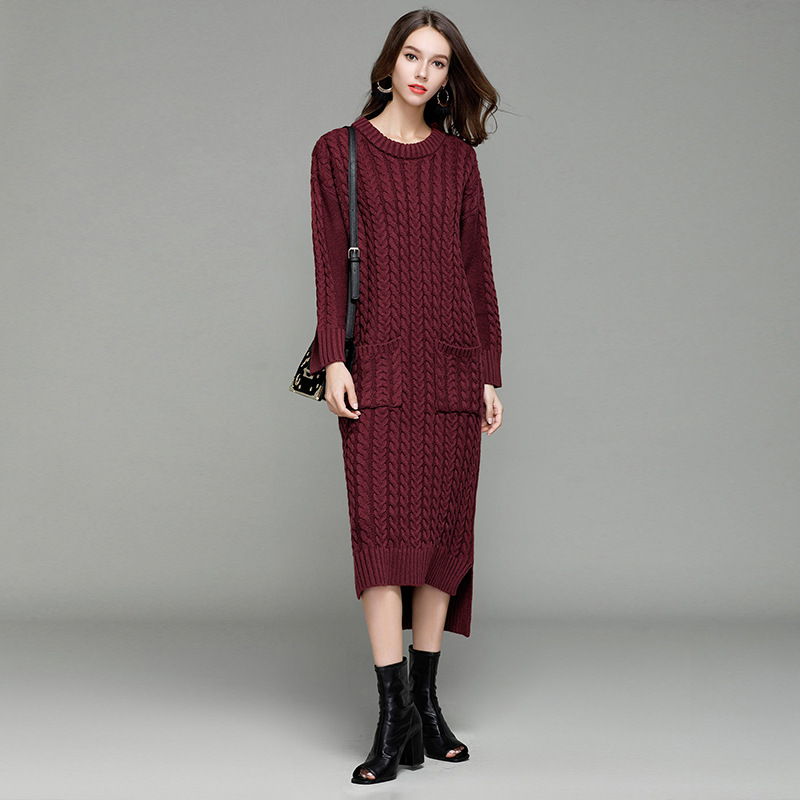 HMCHIME 2017 Autumn winter women knitted dress fashion sexy long sleeve round collar loose woman long sweater with pockets HM677 hmchime 2017 autumn women high elastic knitted dress fashion sexy patchwork round collar long sleeve woman sweater dress hm703
