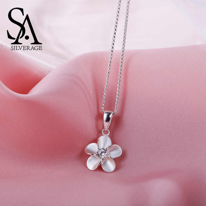 SA SILVERAGE 925 Sterling Silver Cubic Zirconia Flower Pendant Necklaces For Women Chokers Necklaces Colar Collier