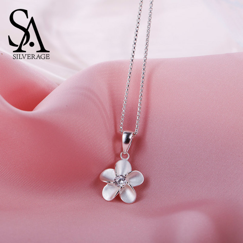 SA SILVERAGE 925 Sterling Silver Cubic Zirconia Flower Pendant Necklaces For Women Chokers Necklaces Colar CollierSA SILVERAGE 925 Sterling Silver Cubic Zirconia Flower Pendant Necklaces For Women Chokers Necklaces Colar Collier