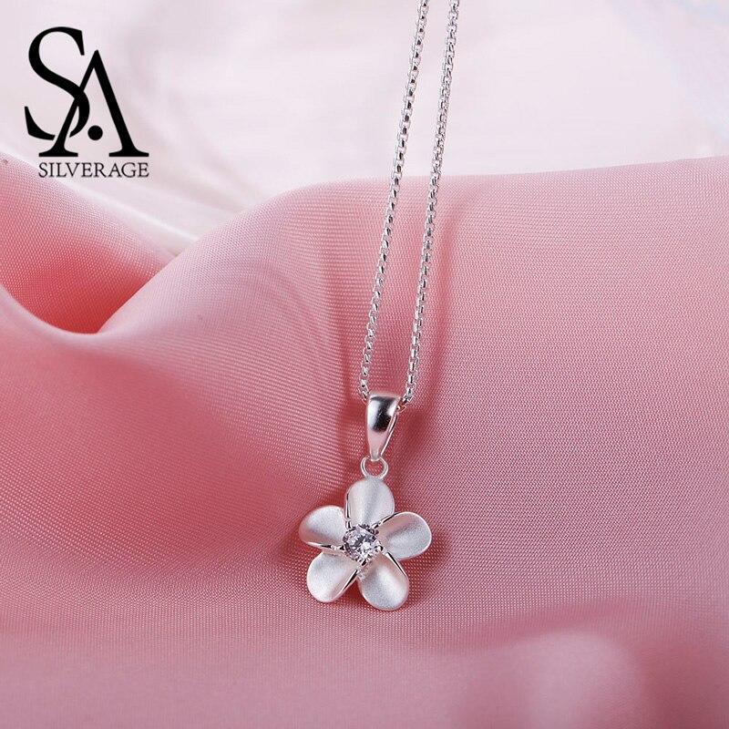 SA SILVERAGE 925 Sterling Silver Cubic Zirconia Pingente de Flor Colares Para As Mulheres Gargantilhas Colares Colar Collier