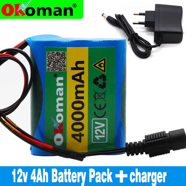original protection plate battery pack 12V 4000mAh 18650 lithium ion DC12.6V super rechargeable battery+charger