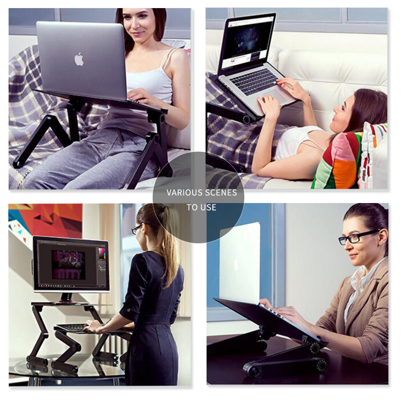 Купить с кэшбэком SUFEILE Aluminum Laptop Folding Table Computer desk Stand for Bed 360 degree rotation MultiFunctional Portable folding table D5