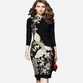 Vintage Ladies Dress Fashion Three Quarter Sleeve Embroidery Apring Autumn Dresses Black Office Wear Women Elegant Pencil Dress Платье
