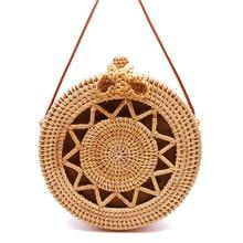 Round Straw Bags Women Handmade Handbag