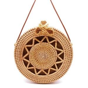 Image 4 - 2020 Round Straw Bags Women Summer Rattan Bag Handmade Woven Beach Cross Body Bag Circle Bohemia Handbag Bali Lowest price L31