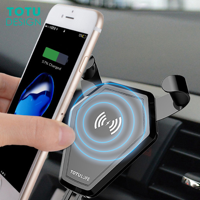 TOTU Car Mount Qi Wireless Charger For iPhone X 8 7 Plus Samsung S8 S7 Fast Wireless Charging Air Vent Car Phone Holder Stand