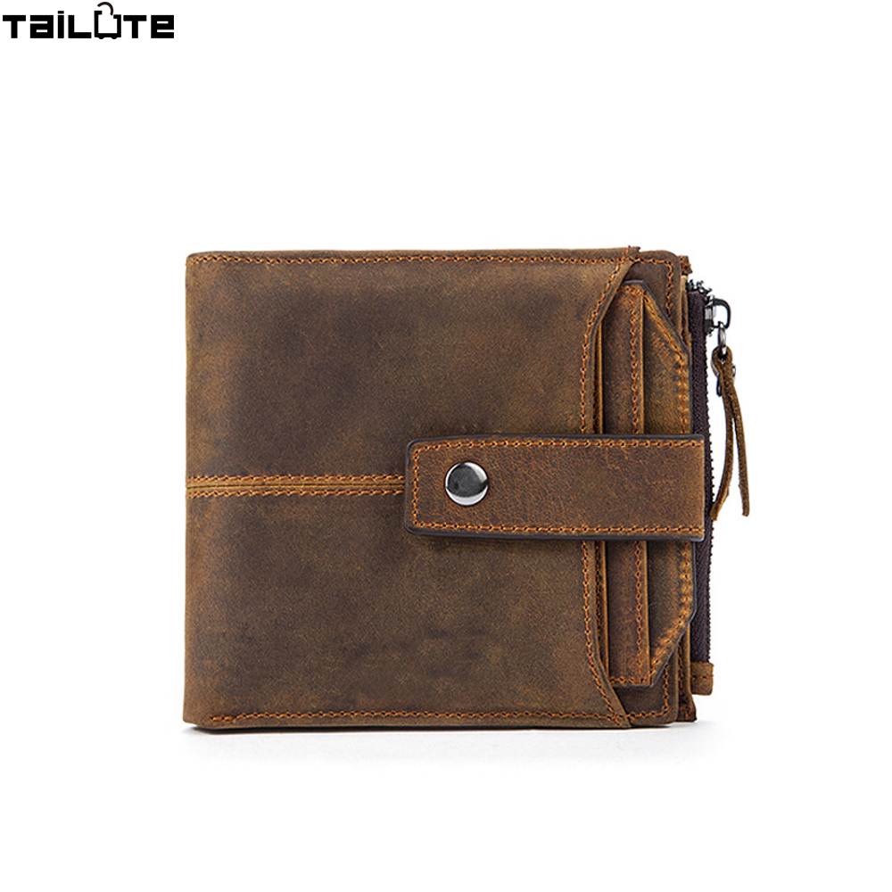 TAILUTE Genuine Leather Men Wallet Fashion Coin Pocket Brand Trifold Design Cow Men Purse High Quality Male Card ID Holder