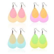 2019 Glitter Double Layers Leather Earrings For Women Teardrop Lightweight Pu Leather Earrings Fashion Jewelry Gifts Wholesale цена