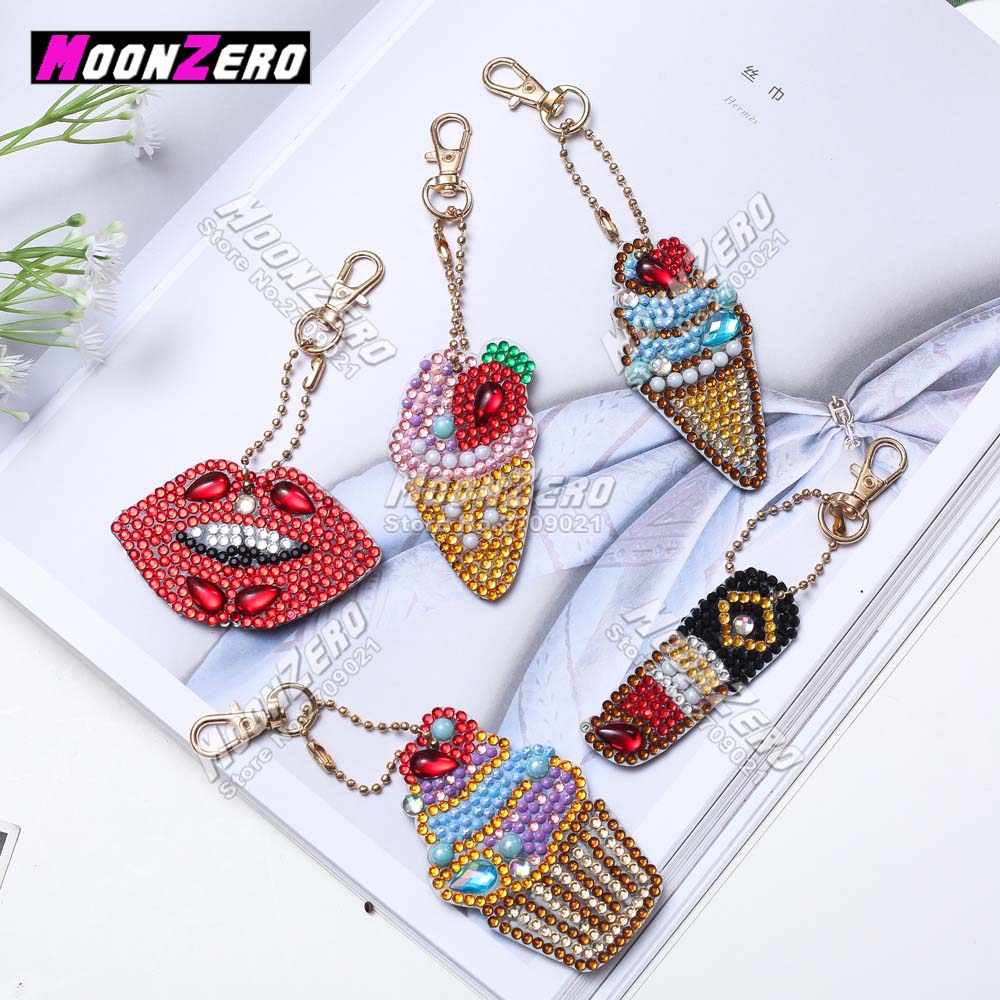 New Special Shaped Diamond Painting Cartoon 5D Diy Diamonds Key chain Children's Handmade Gifts Zipper Bag Pendant