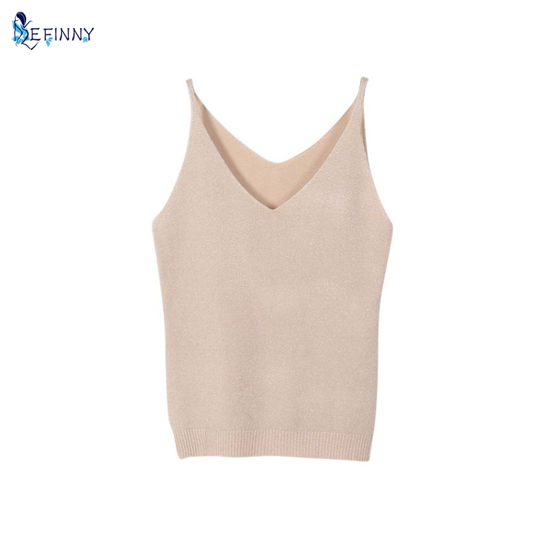 EFINNY Sexy Women Fashion Summer Icecream Camisole Bruiser Crop Top Glittering Knitting Vest Top V-Neck Blouse Casual Tank Tops
