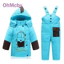 Baby Boys Girls Winter Down Coat Children Warm Jackets Dinosaure Toddler Snowsuit Outerwear Coat Pant Clothing Set Kids Clothes