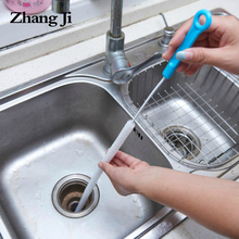 ZhangJi Sewer Cleaning Brush 71cm Flexible Kitchen Bathroom Sink Pipe Cleaner Hair Removal Tools Steel Dredge sewers PP handle