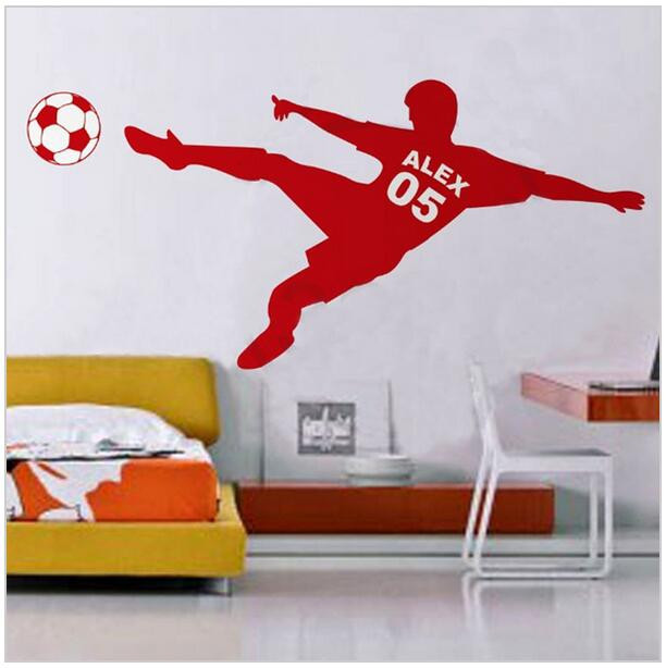 voetbal voetbal gepersonaliseerde naam en nummer muur sticker vinyl kunst aan de muur poster kinderen muursticker kinderen room decor d607