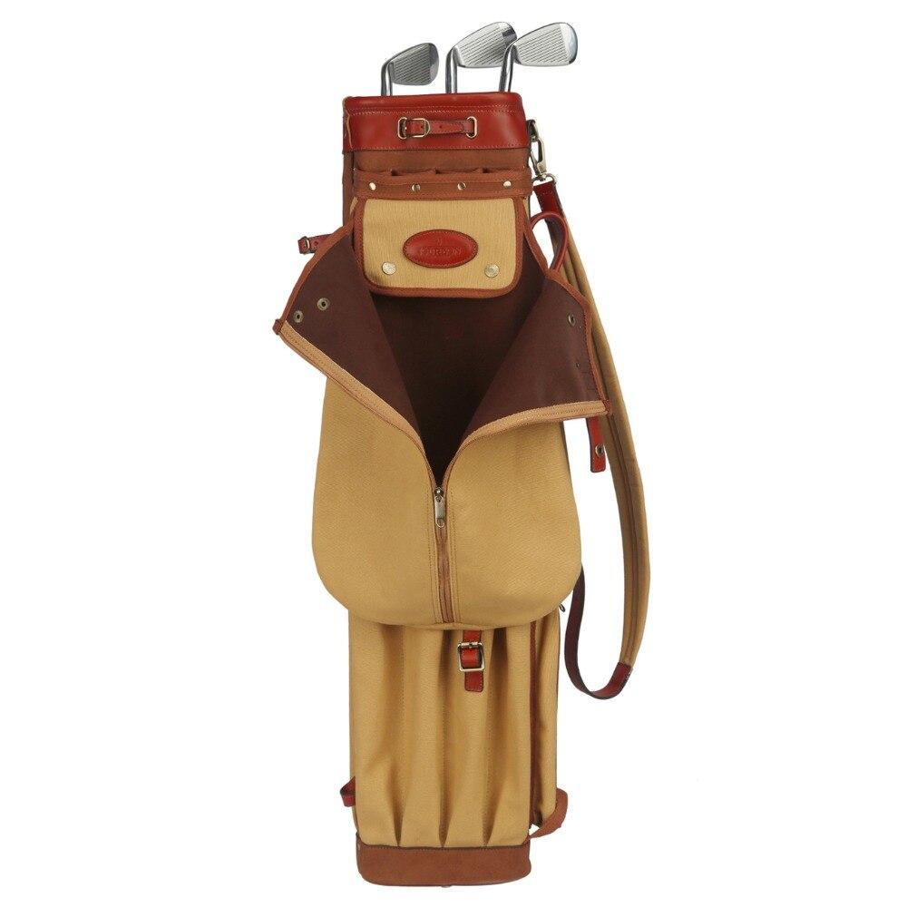 Tourbon Vintage Premium Canvas Pencil Style Golf Club Bag Carrier Leather Cover Golf Gun Clubs Bags