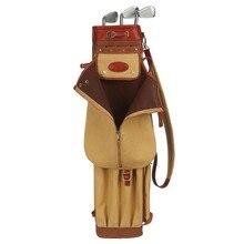 Tourbon 빈티지 프리미엄 캔버스 연필 스타일 골프 클럽 가방 캐리어 가죽 커버 골프 총 클럽 가방 케이스 90CM