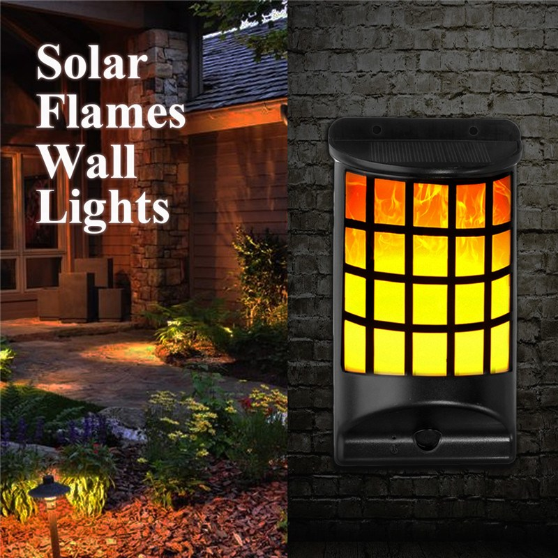 Smuxi LED Solar Light Path Flame Light 66 LED Flickering Outdoor Waterproof Fence Garden Wall Lights Outdoor Dark Sensor