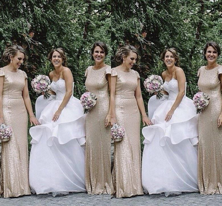 Stunning Gold Silver Sequins Bridesmaids Dresses 2016 Mermaid Scoop Short  Sleeves Plus Size Simple Maid Of Honor Bridal Gowns-in Bridesmaid Dresses  from ... 2e4833372bc2