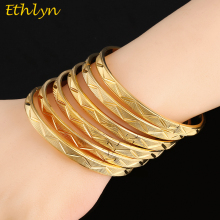 Ethlyn 6Piece/Lot Ethiopian Gold Color Openable Charm Bracelets For Women Round Bangle Jewelry Bracelets & Bangles B37