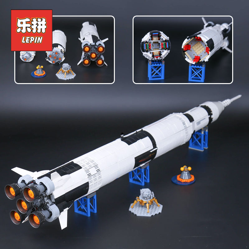 Lepin 37003 1969Pcs Creative Series the American Apollo Saturn V Launch Vehicle Set Children Building Blocks Bricks Toy 21309 1969pcs apollo saturn v model building blocks 37003 assemble children kid toy bricks compatible with lego