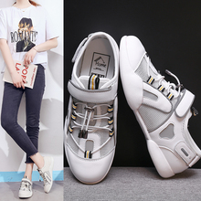 купить Summer New Women Flat Comfortable Casual Sneakers Fashion Reflective Sports Shoes Lace-up White Sneakers по цене 1612.94 рублей