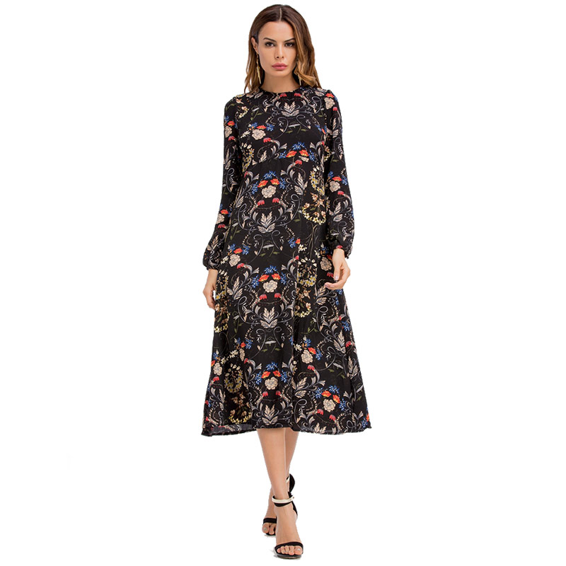 Floral Printing Loose Chiffon Dresses Long Puff Sleeve Slim Pattern 2019 Spring Summer boho Dress Black Casual Office Ladies New floral chiffon dress long sleeve