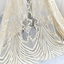 Exquisite Gold Embroidery Tulle Lace Fabric with Clear Sequin for Wedding Gown, Haute Couture by Yard