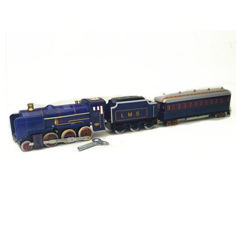 BEIOUFENG Vintage étain jouets Train classique horloge jouets pour adultes, rétro liquidation étain jouet avec horloge artisanat fait main cadeaux - 3
