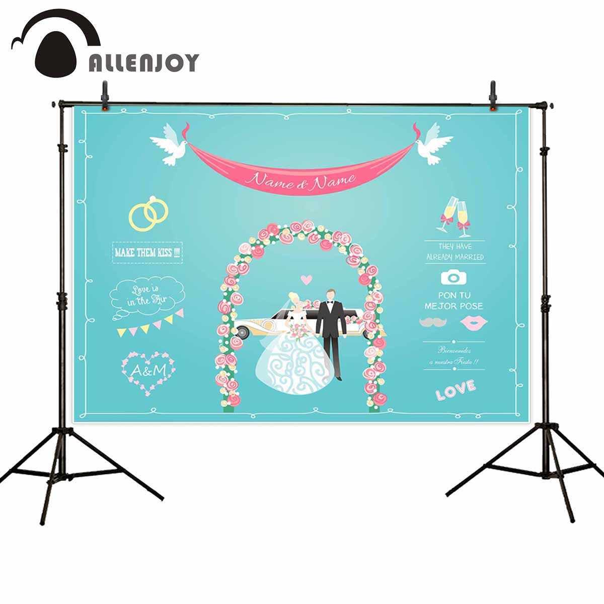 Allenjoy фоны для фотосъемки студия мира doves свадебное кольцо цветы дверь Жених Невеста фон с автомобилем индивидуальный для фотосессии