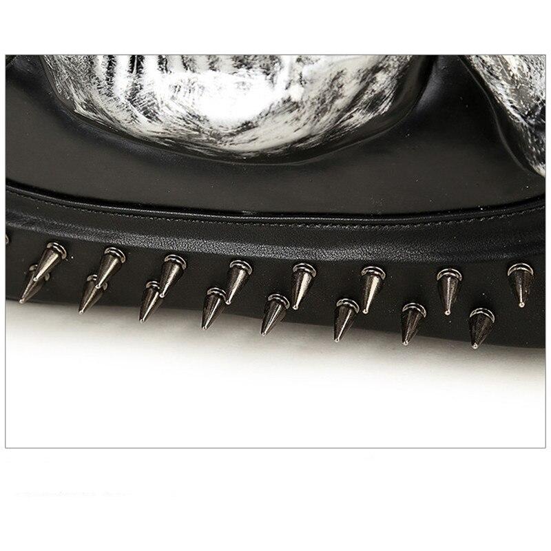 Мужской рюкзак большой емкости женский 15 ноутбук сумка для компьютера заклепки индивидуальные, трендовые головы призрака забавные черные/Золотые сумки с черепом - 5