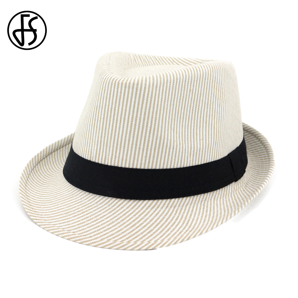 a9dfc88cf48c Sombreros Fedora Beige negro para hombre rayas verano Trilby Vintage  sombrero de ala ancha fieltro mujeres Iglesia sombrilla gorras con cinta