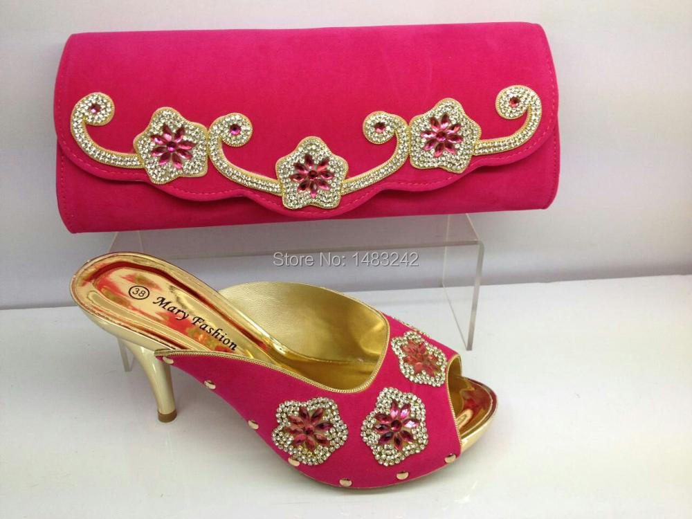 ФОТО mml03 fuchsia color Charming Italian Shoes With Matching Bags Rhinestones/High Quality African Shoes And Bags Set for Wedding