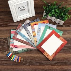Image 1 - Фоторамка настенная креативная деревянная зернистая бумага подвесной альбом сочетание DIY художественное украшение для гостиной украшение Porta Retrato