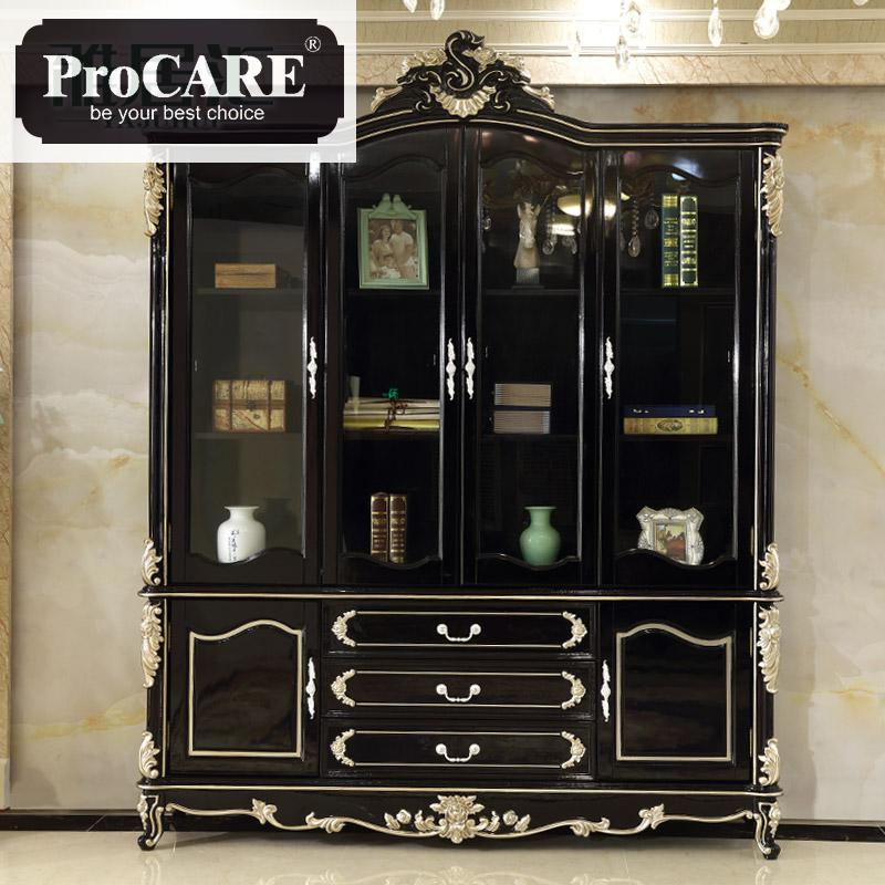 Solid Wood Bookcase Living Room With Glass Bookcase Study Decoration Cabinet Black Sandalwood Storage Cabinet