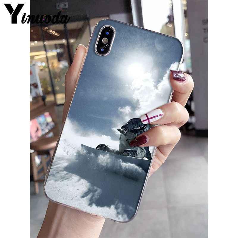 Yinuoda kar kalıp kayak Snowboard spor şeffaf yumuşak silikon telefon kılıfı iPhone X XS MAX 6 6S 7 7 artı 8 8 artı 5 5S XR