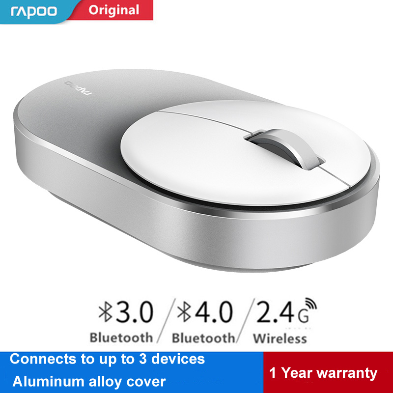 Original Rapoo Wireless Mouse Portable Game Mouses Aluminium Alloy ABS Material 2.4GHz WiFi Bluetooth 3.0/4.0 Control Connect mouse