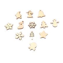 50 ADET DIY Noel Kar Tanesi ve Kardan Adam ve Geyik Ahşap Kolye Süsler Noel Partisi Süslemeleri Noel Ağacı Süsler Çocuklar Hediyeler