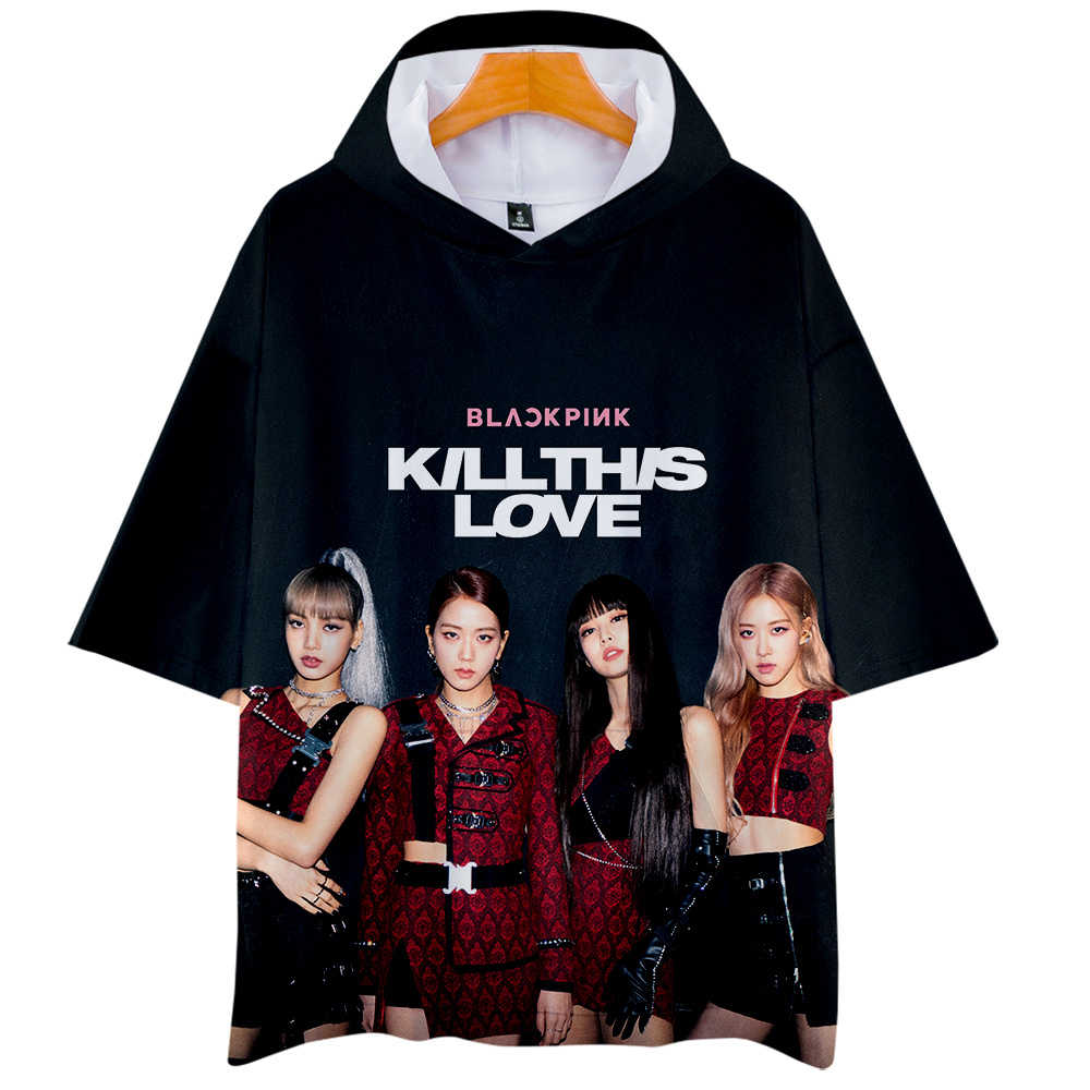 9c01001b Summer 2019 Women Blackpink Kill This Love Tops Hip Hop 3d Hooded T ...